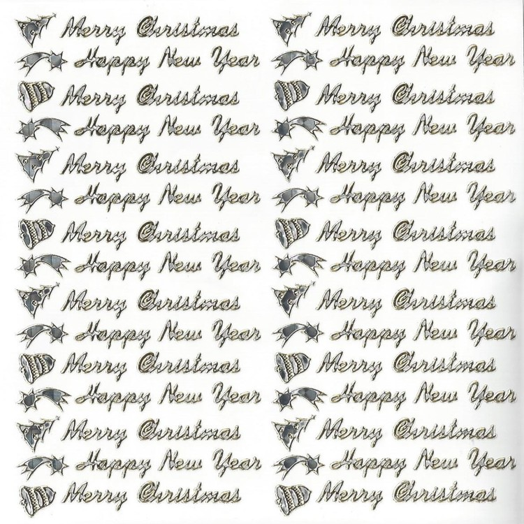 Stickervel 15x15cm Merry Christmas Happy New Year