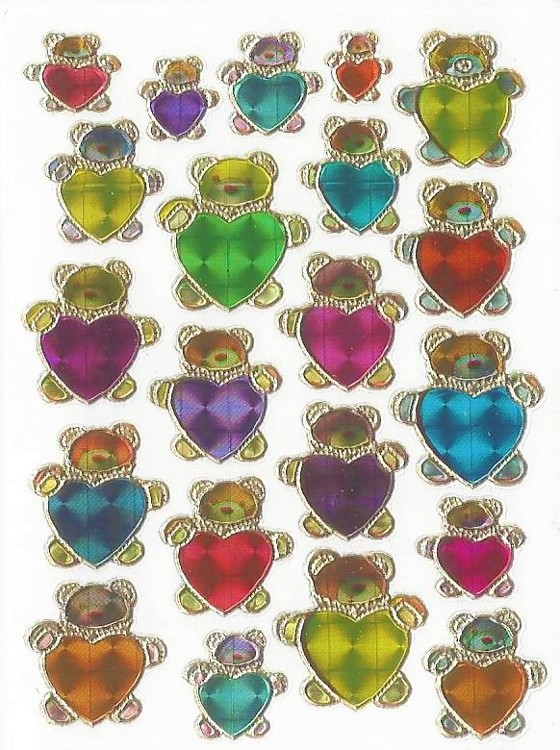 Stickervellen 7x10cm Beertjes 10 vel Mix colors
