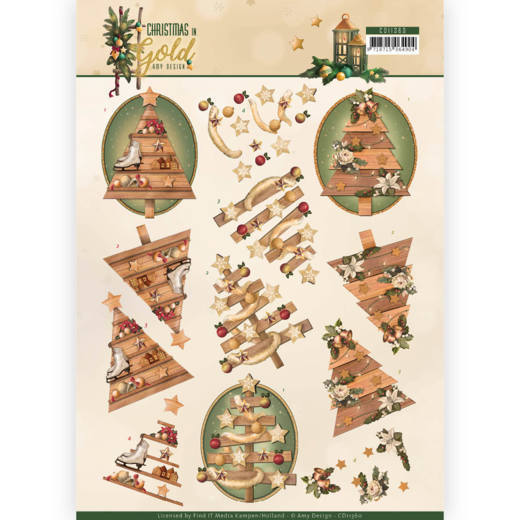 Amy Design knipvel A4 Christmas in Gold