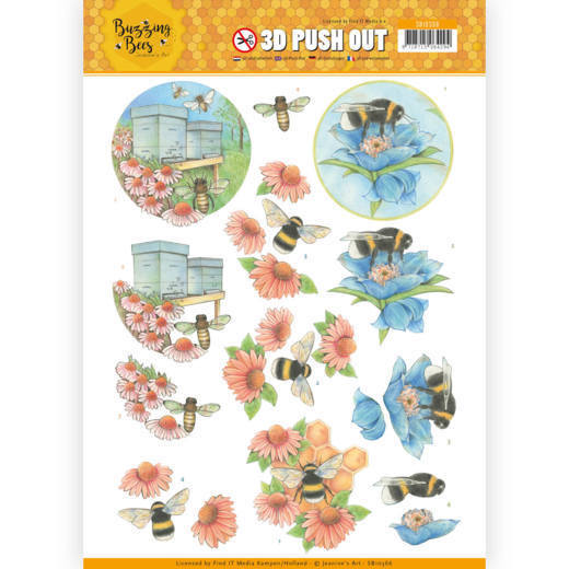 3D pushout - Jeanines Art - Buzzing Bees - Working Bees