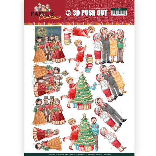 3D Pushout - Yvonne Creations - Family Christmas