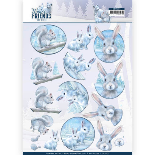 Amy Design knipvel A4 Winter Friends - Arctic Friends