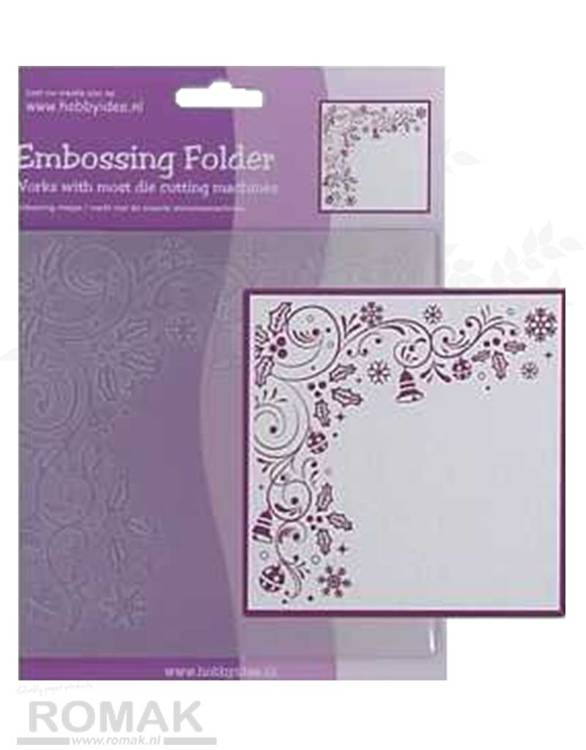 Embossing Folder Vierkant Kersthoek