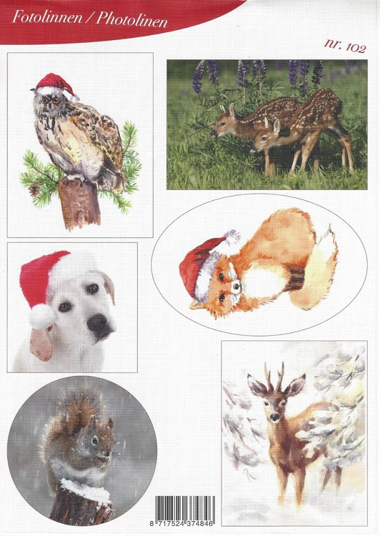 Fotovellen A4 Knipvel Christmas Animals