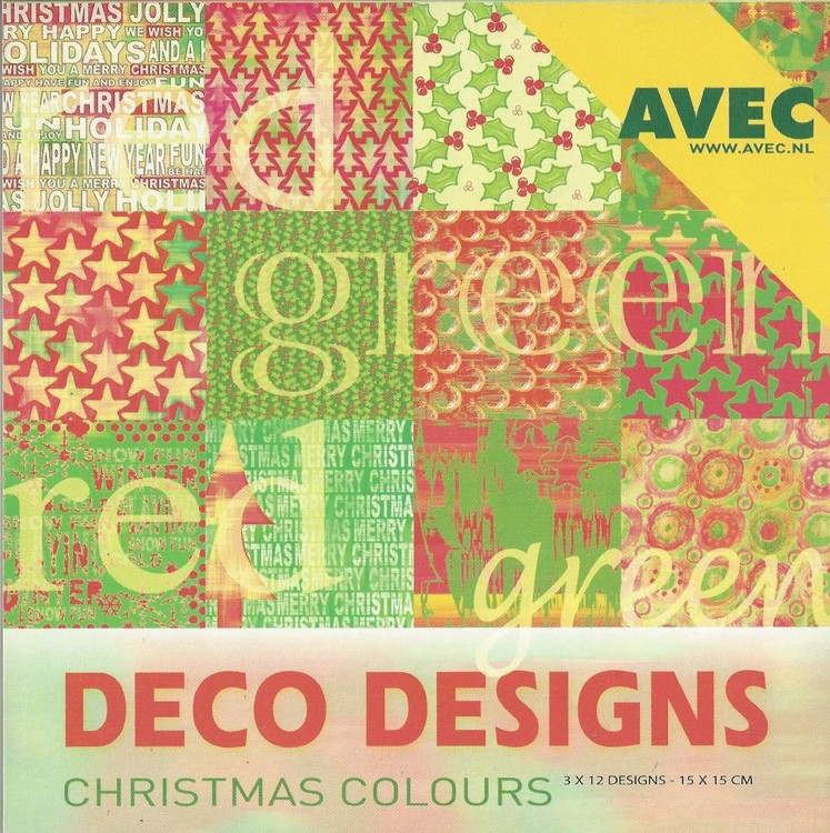 Deco Designs Paper Pack 15x15cm Red Green Christmas