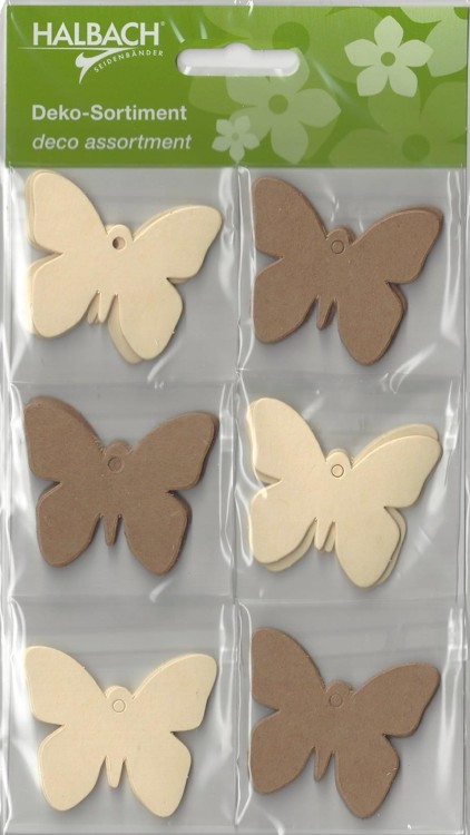Halbach Paper Tags Butterfly's Kraft / Creme
