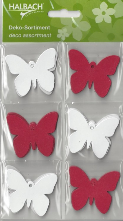 Halbach Paper Tags Butterfly's Rood / Wit