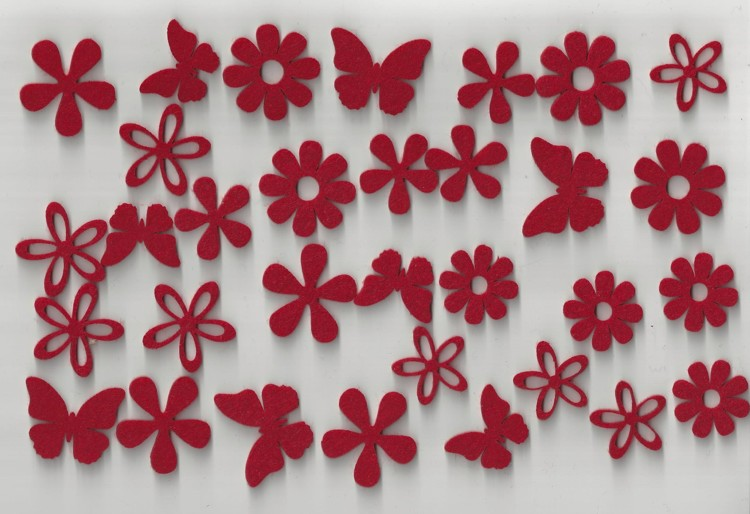 Halbach Embellishments Vilt 32 stuks Flowers and Butterflies Rood