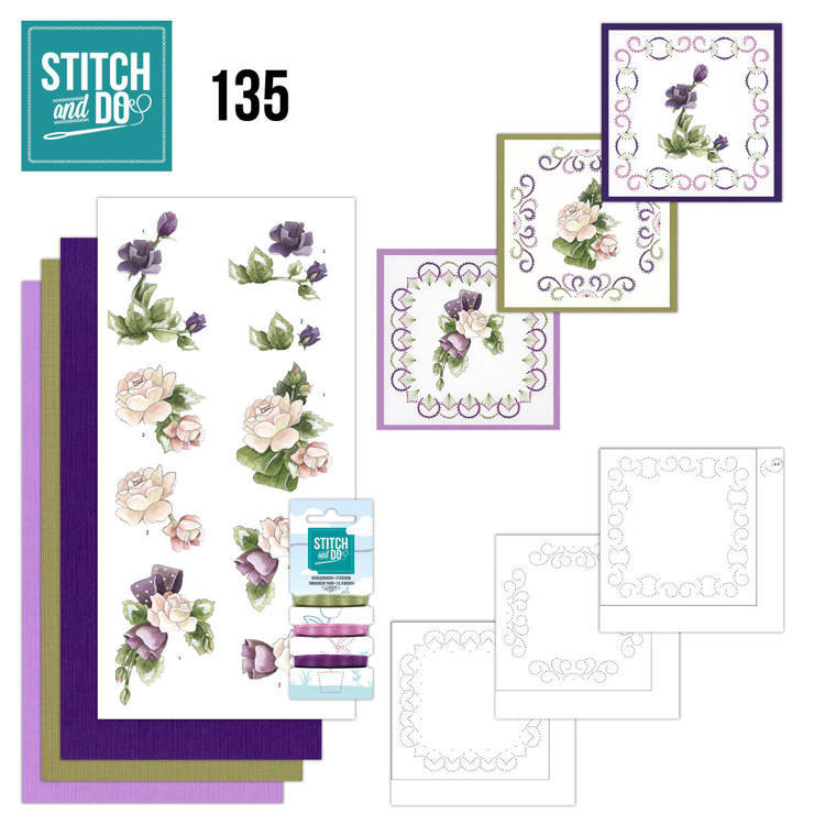 Stitch and Do 135 - Precious Marieke - Purple Flowers