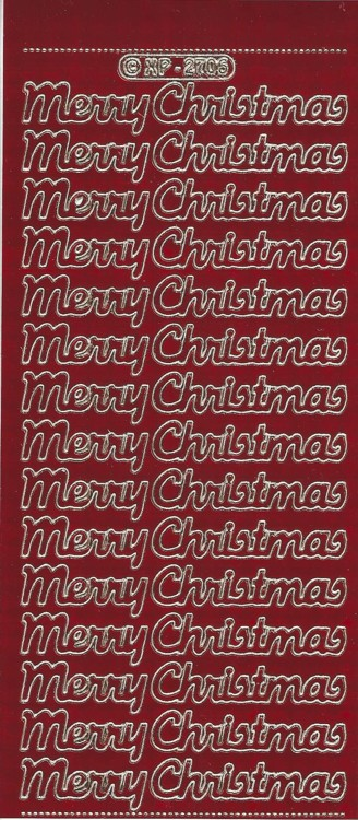 Stickervel Merry Christmas Holografic Rood