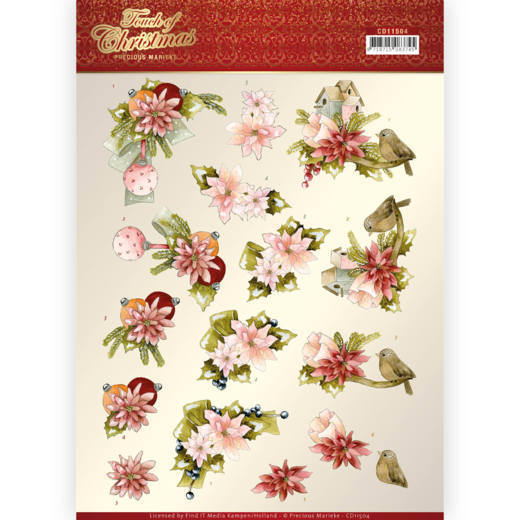 3D Knipvel - Precious Marieke - Touch of Christmas - Pink Flowers