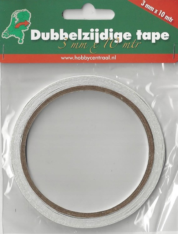 Dubbelzijdig tape 3mm breed 10 mtr lang