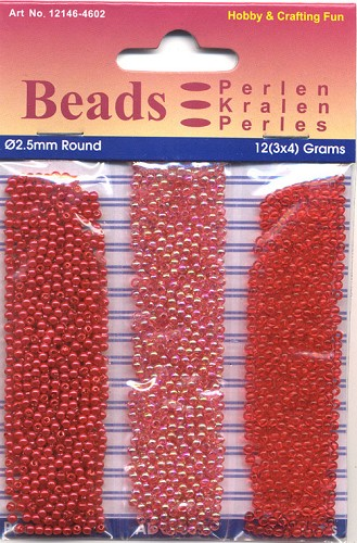 Round Pearl Trio 2,5mm 3x4 gram Red
