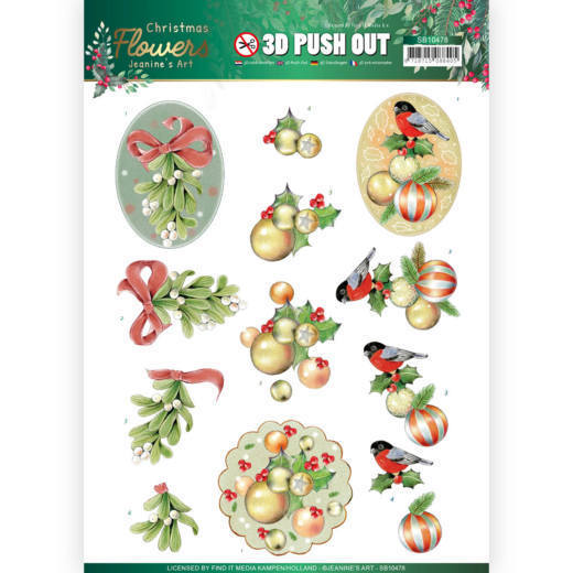 3D Push Out - Jeanines Art - Christmas Flowers - Mistle Toe
