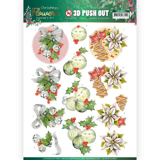 3D Push Out - Jeanines Art - Christmas Flowers - Christmas Bells