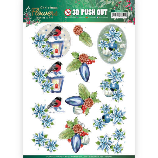 3D Push Out - Jeanines Art - Christmas Flowers - Christmas Lantern