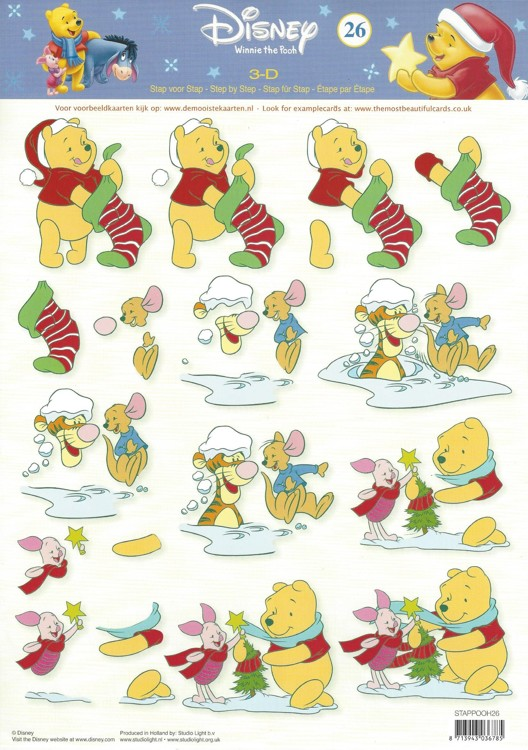 disney 3d knipvel a4 winnie the pooh kerst de mobiele