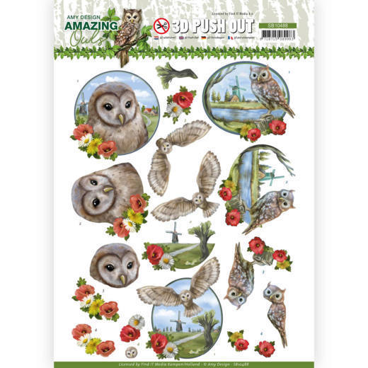 3D Push Out - Amy Design - Amazing Owls - Meadow Owls