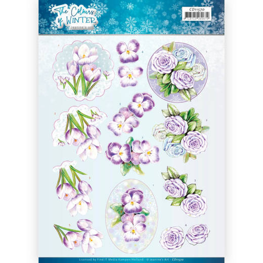 3D Knipvel - Jeanine's Art - The colours of winter - Purple winter flowers