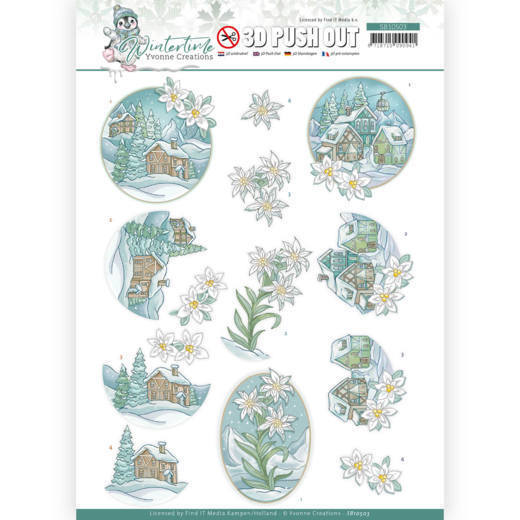3D Push Out - Yvonne Creations - Winter Time - Edelweiss