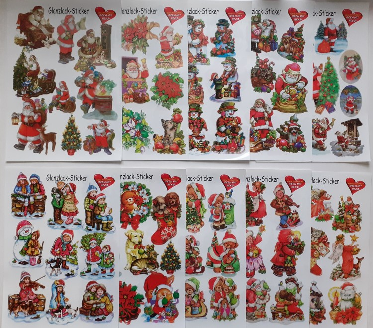 Glans Sticker Pakket 10 vellen A4 Christmas