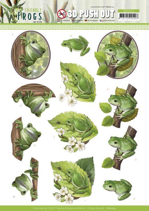 3D Push Out - Amy Design - Friendly Frogs - Tree Frogs