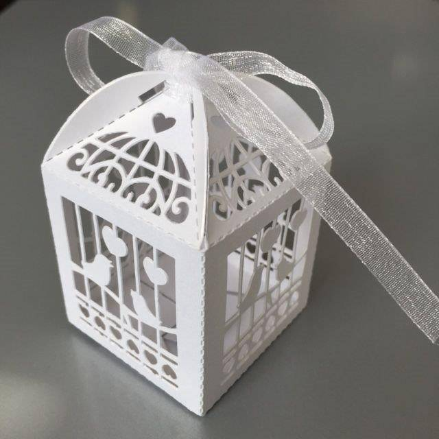Filigree Paper Box with Ribbon Birdcage 5x5x7,5cm White 10 stuks