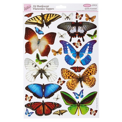 Anita's stansvel A4 Flutterdies Toppers - Pearlecent Tropical
