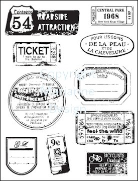 MD Clear stamps Vintage labels & tickets