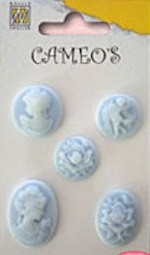 Nellie's Cameos - light blue 5 stuks
