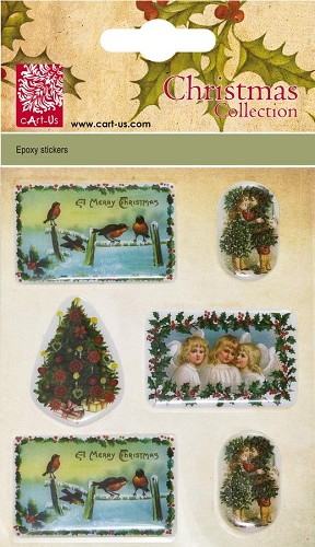 Christmas Epoxy stickers Vintage Bird and Children