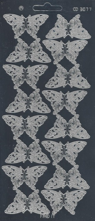 Stickervel Butterflies Large Platinum Zilver