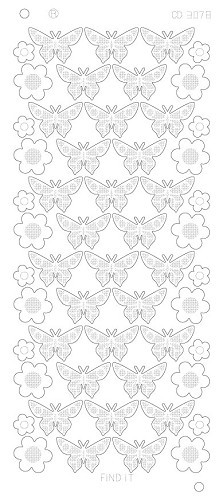 Stickervel Flowers Butterflies Platinum Zilver