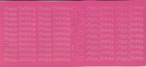 Stickervel Happy Birthday roze