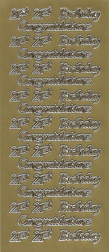 Stickervel 21st Birthday Congratulations Goud