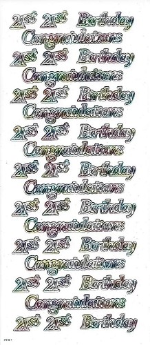 Stickervel 21st Birthday Congratulations Multicolor
