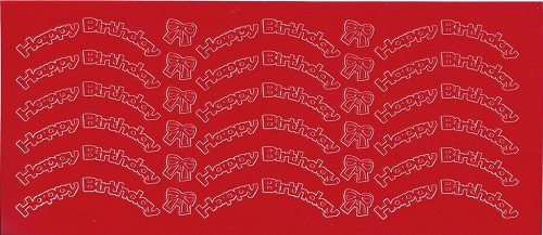 Stickervel Happy Birthday Rood
