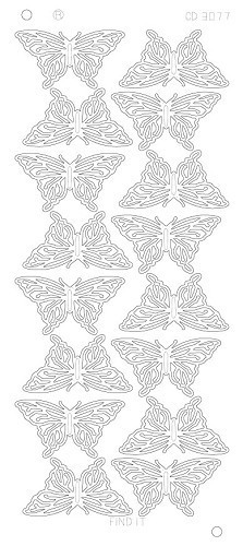 Stickervel Butterflies Large Platinum Goud