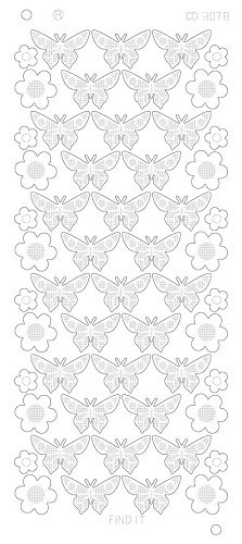 Stickervel Flowers Butterflies Platinum Goud