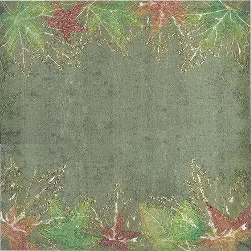 Beatrix Rose Scrapbook Paper Fall Glitter Leaves Green 30,5x30,5cm 25 vellen