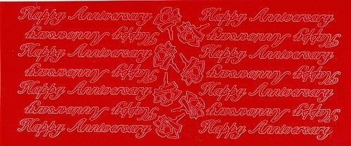 Stickervel Happy Anniversary rood