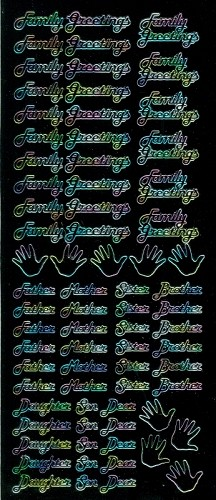 Stickervel Family greetings zwart multi