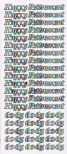 Stickervel Happy Retirement wit multi