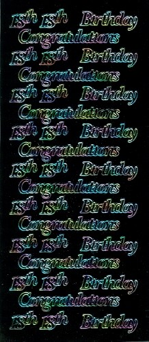 Stickervel Congratulation 18th Birthday zwart multi
