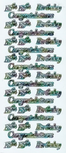 Stickervel Congratulation 18th Birthday wit multi