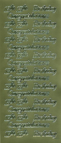 Stickervel Congratulation 18th Birthday goud