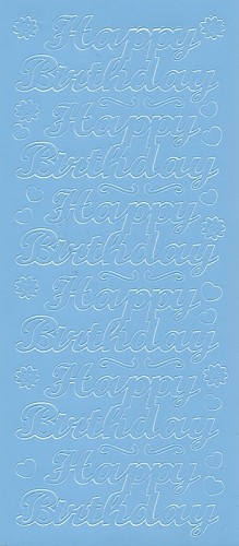 Stickervel Happy Birthday lavendelblauw