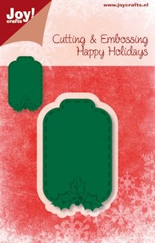 Joy! stencil Happy Holidays hanger label