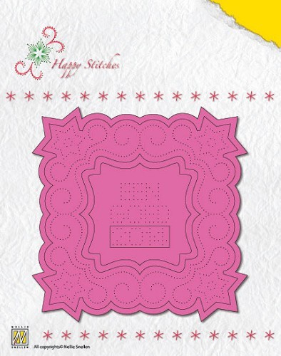 "Nellie`s Stitching Die ""Happy Stitches: Christmas square-1"
