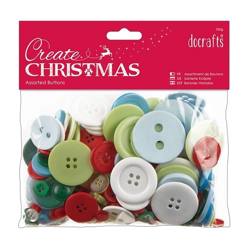 Assorted Buttons 250g - Traditional Christmas